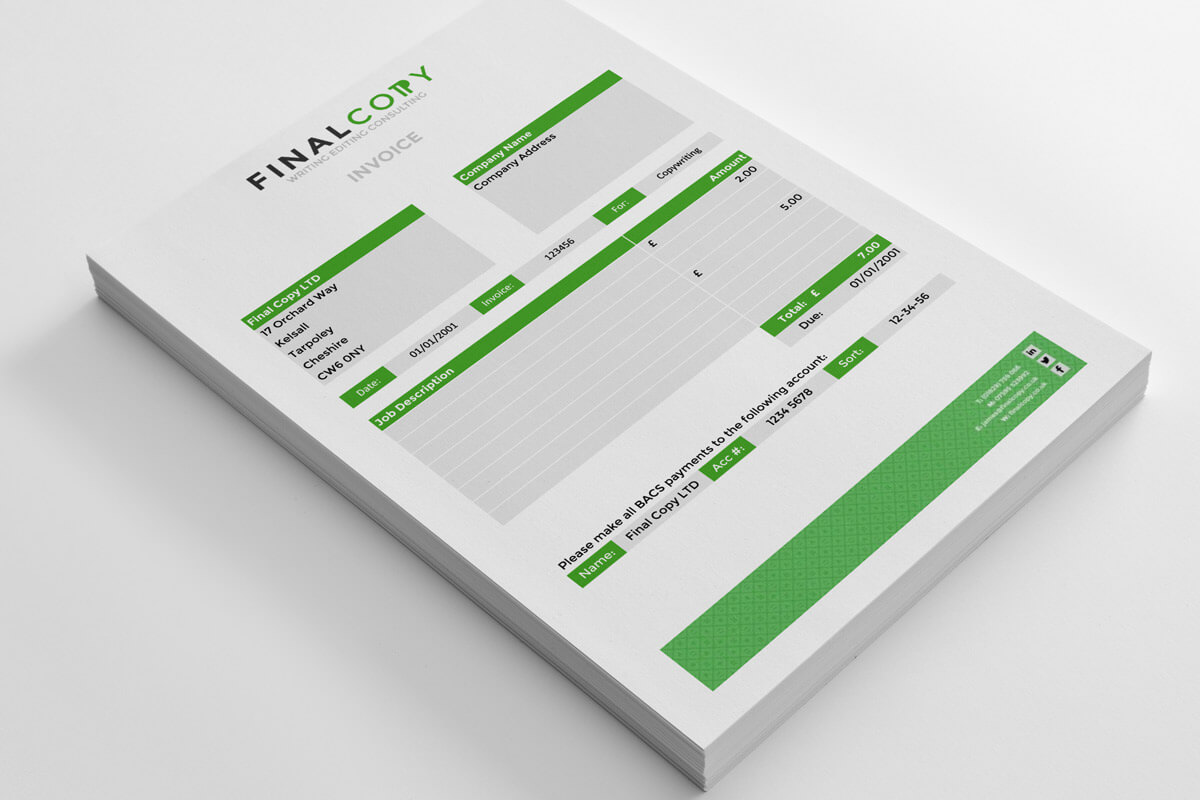 Final Copy invoice stationery design