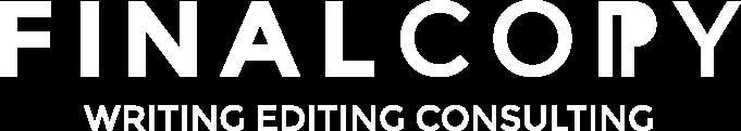 Final Copy logo design white