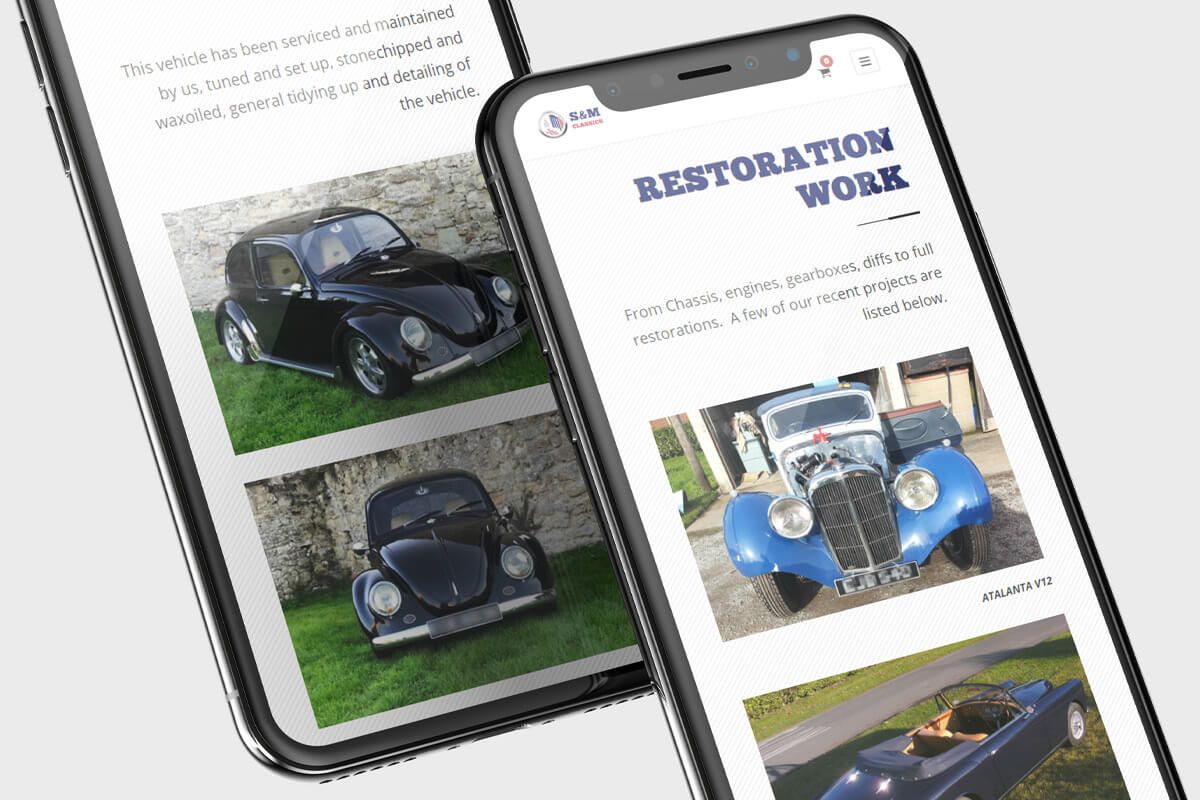 S&M Classics Website Design - Mobile