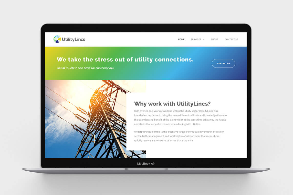 UtilityLincs Website Design - Desktop
