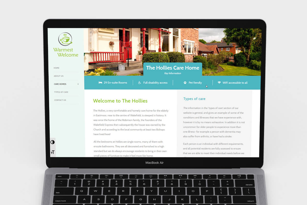 Warmest Welcome Website Design - Laptop