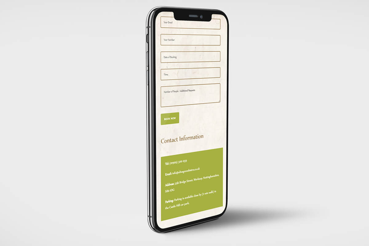 The Olive Grove Website Design - Mobile