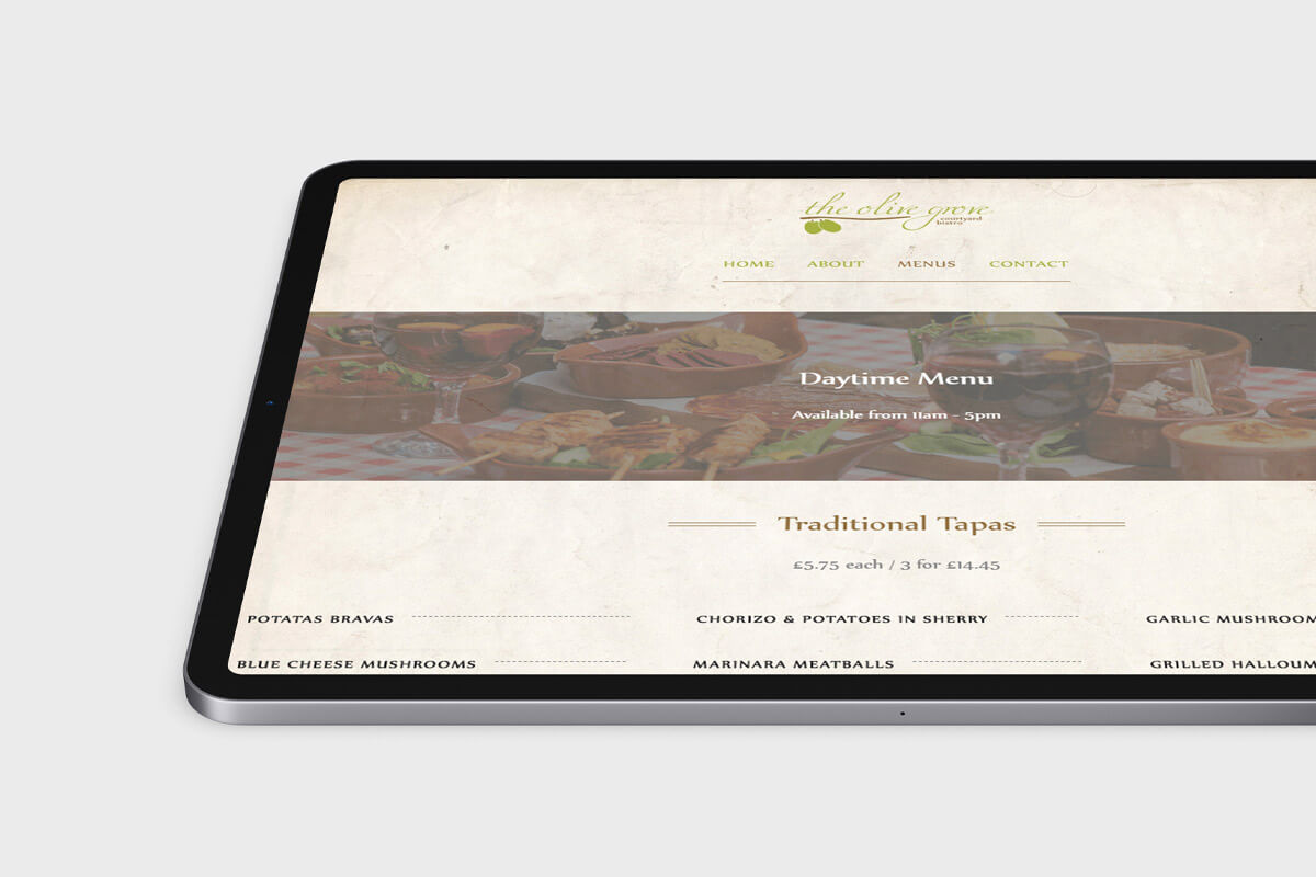 The Olive Grove Website Design - Tablet